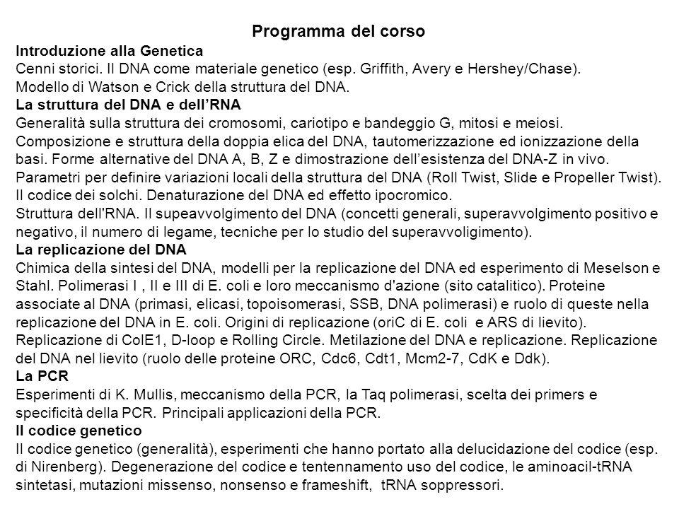 Programma del corso Introduzione alla Genetica