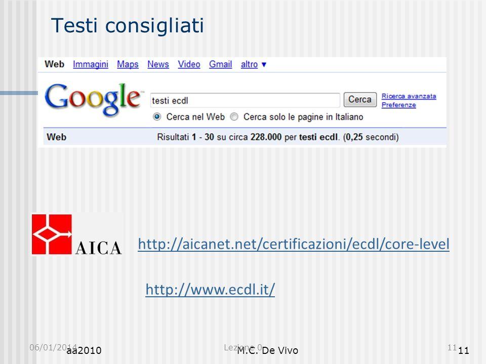 Testi consigliati http://aicanet.net/certificazioni/ecdl/core-level