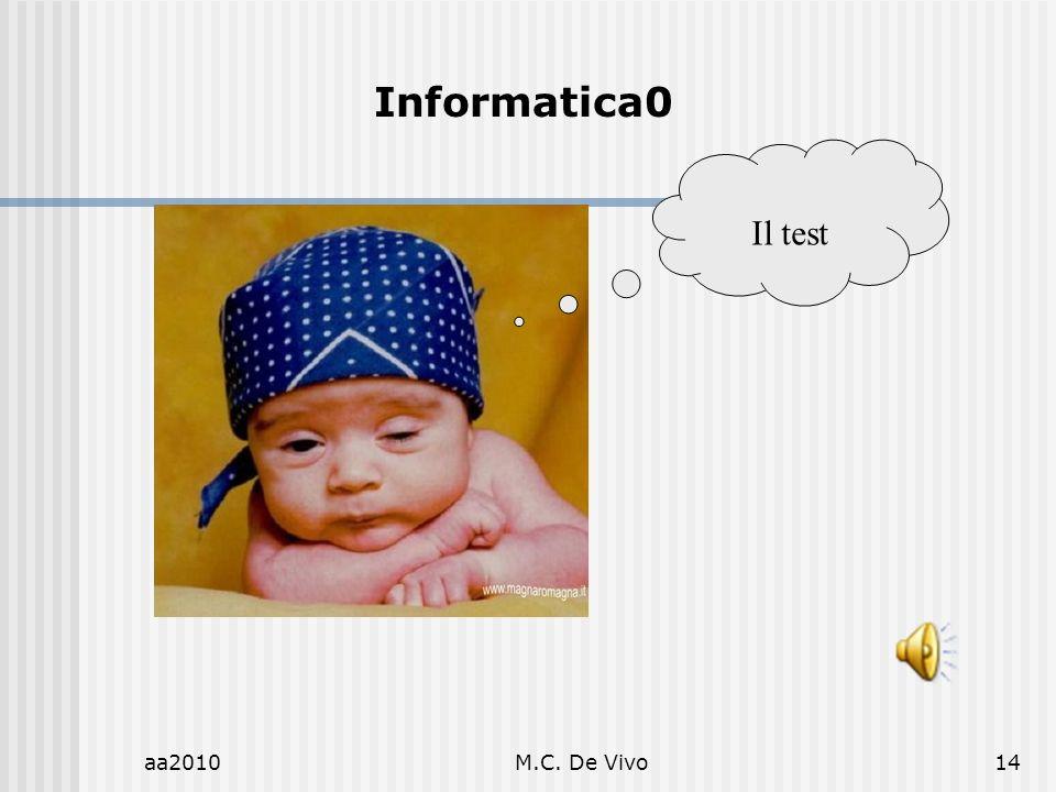 Informatica0 Il test aa2010 M.C. De Vivo