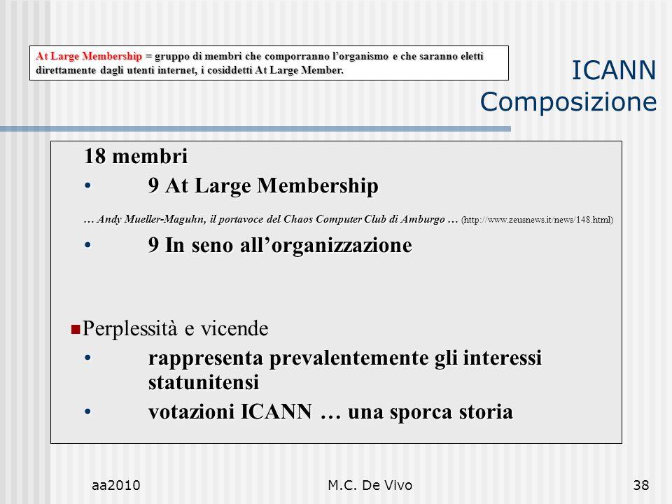 ICANN Composizione 18 membri 9 At Large Membership