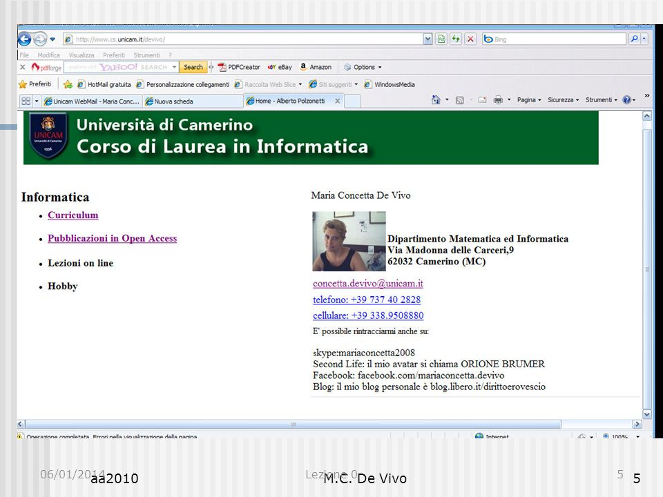 Informatica 0 Presentazione Indirizzo E-Mail Docente