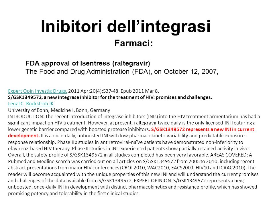 Inibitori dell'integrasi
