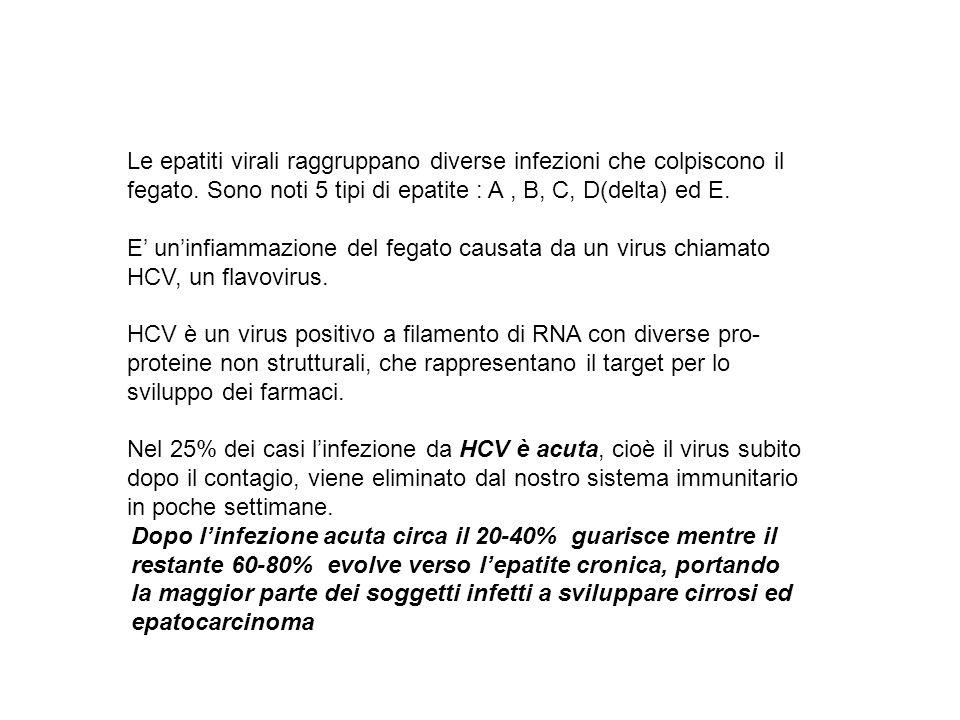 Le epatiti virali raggruppano diverse infezioni che colpiscono il fegato. Sono noti 5 tipi di epatite : A , B, C, D(delta) ed E.