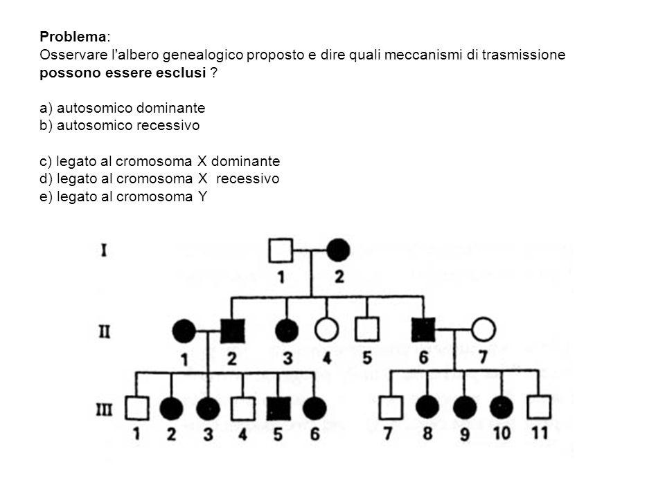 Problema: Osservare l albero genealogico proposto e dire quali meccanismi di trasmissione possono essere esclusi