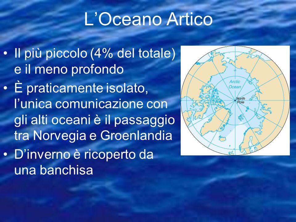 L'Oceano Artico Il più piccolo (4% del totale) e il meno profondo