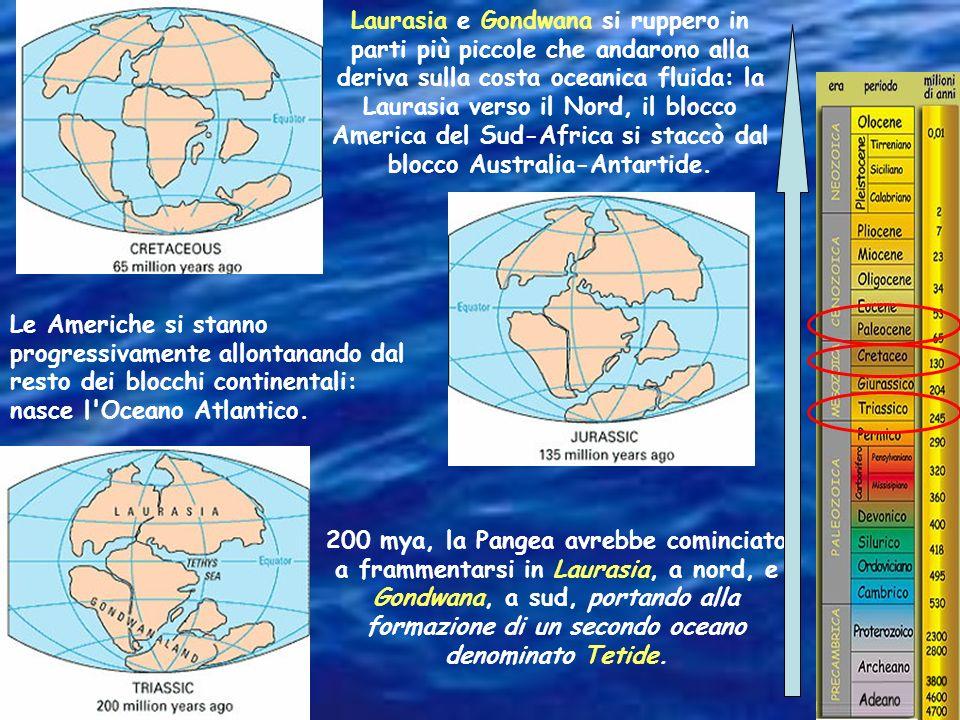 Laurasia e Gondwana si ruppero in parti più piccole che andarono alla deriva sulla costa oceanica fluida: la Laurasia verso il Nord, il blocco America del Sud-Africa si staccò dal blocco Australia-Antartide.