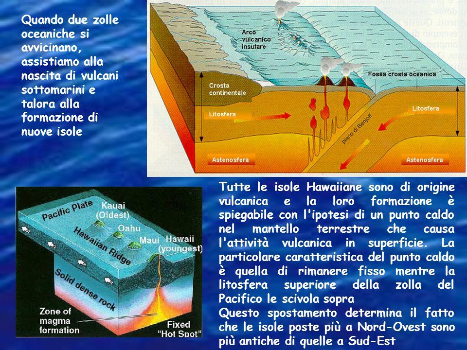 Quando due zolle oceaniche si avvicinano, assistiamo alla nascita di vulcani sottomarini e talora alla formazione di nuove isole