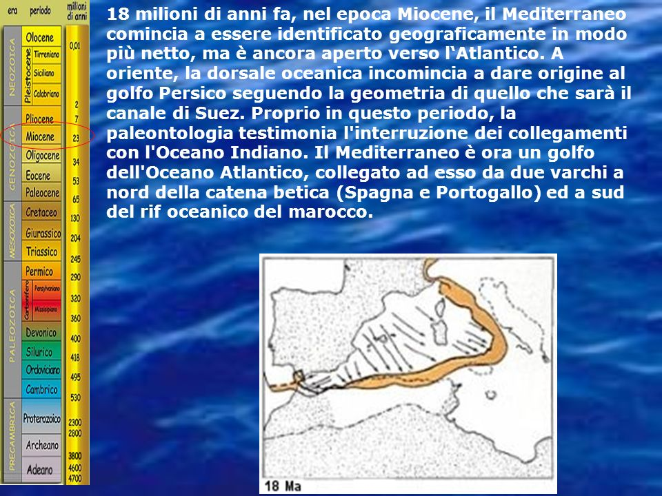 18 milioni di anni fa, nel epoca Miocene, il Mediterraneo comincia a essere identificato geograficamente in modo più netto, ma è ancora aperto verso l'Atlantico.