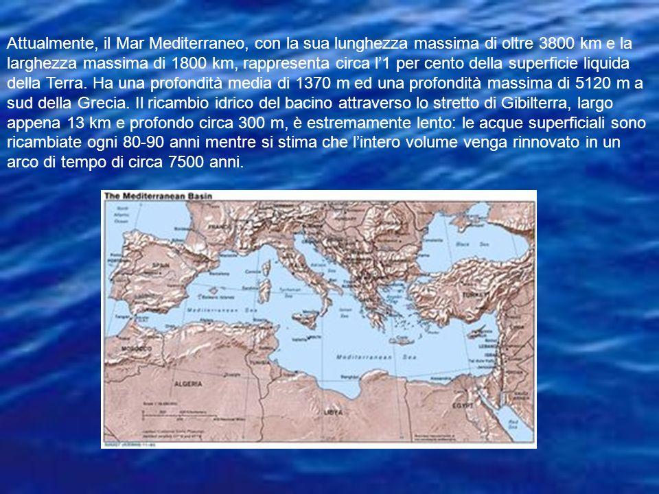 Attualmente, il Mar Mediterraneo, con la sua lunghezza massima di oltre 3800 km e la larghezza massima di 1800 km, rappresenta circa l'1 per cento della superficie liquida della Terra.