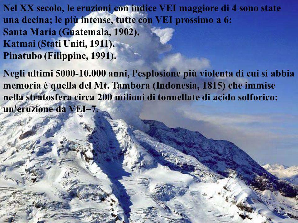 Nel XX secolo, le eruzioni con indice VEI maggiore di 4 sono state una decina; le più intense, tutte con VEI prossimo a 6: Santa Maria (Guatemala, 1902), Katmai (Stati Uniti, 1911), Pinatubo (Filippine, 1991).