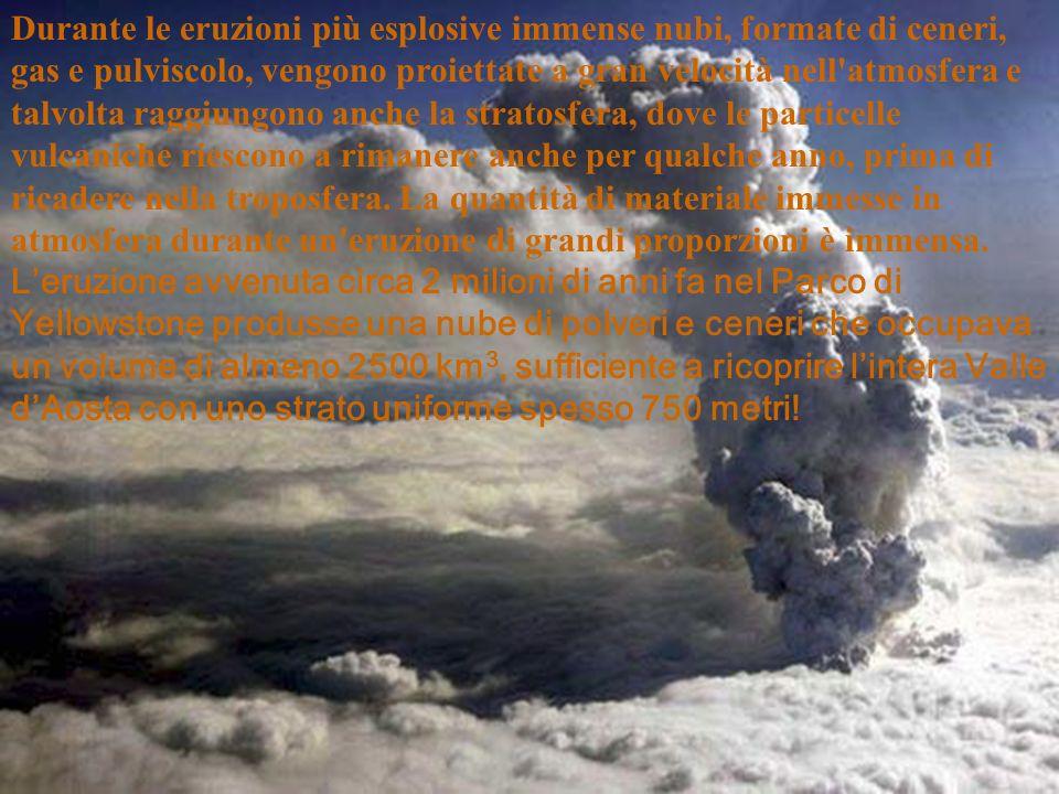 Durante le eruzioni più esplosive immense nubi, formate di ceneri, gas e pulviscolo, vengono proiettate a gran velocità nell atmosfera e talvolta raggiungono anche la stratosfera, dove le particelle vulcaniche riescono a rimanere anche per qualche anno, prima di ricadere nella troposfera.