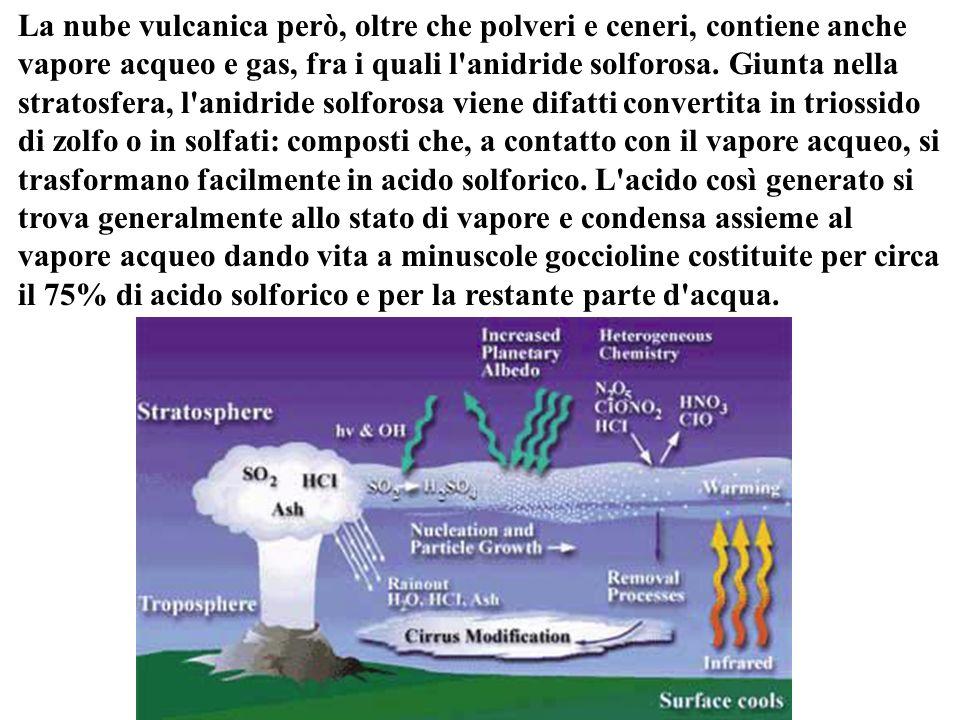 La nube vulcanica però, oltre che polveri e ceneri, contiene anche vapore acqueo e gas, fra i quali l anidride solforosa.
