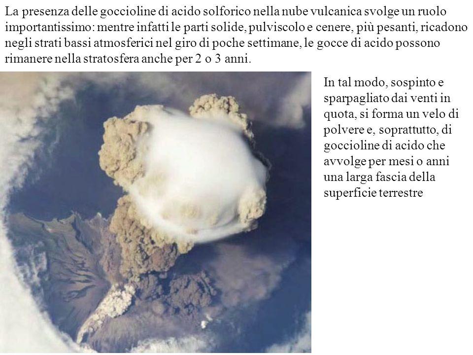 La presenza delle goccioline di acido solforico nella nube vulcanica svolge un ruolo importantissimo: mentre infatti le parti solide, pulviscolo e cenere, più pesanti, ricadono negli strati bassi atmosferici nel giro di poche settimane, le gocce di acido possono rimanere nella stratosfera anche per 2 o 3 anni.