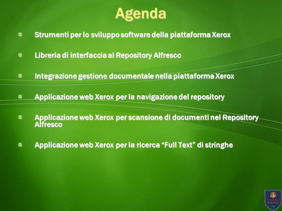Agenda Strumenti per lo sviluppo software della piattaforma Xerox