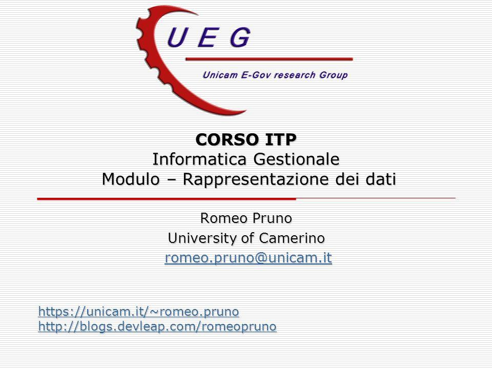 CORSO ITP Informatica Gestionale Modulo – Rappresentazione dei dati