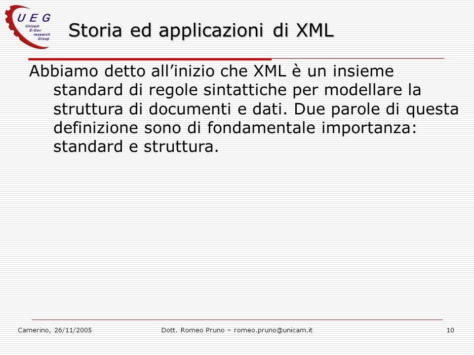 Storia ed applicazioni di XML