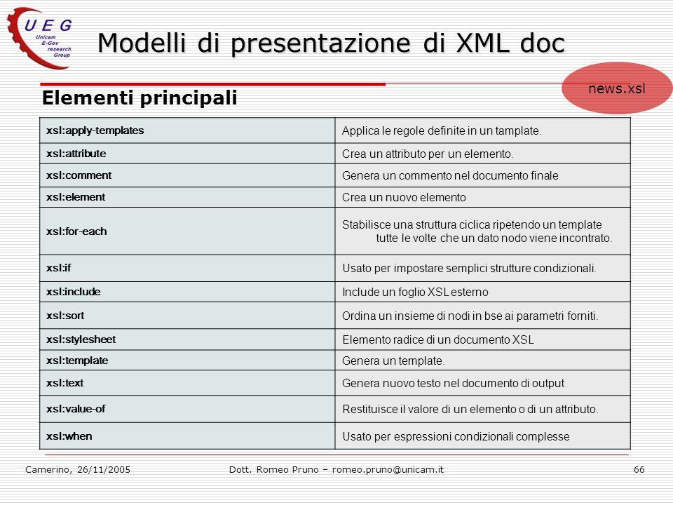 Modelli di presentazione di XML doc