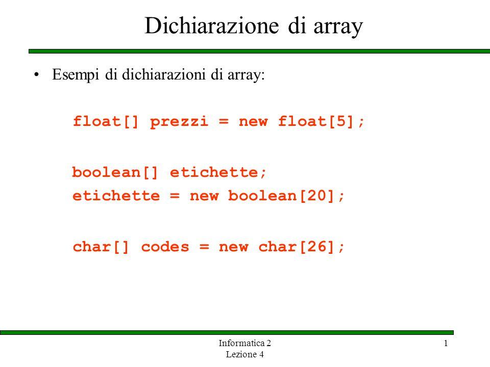 Dichiarazione di array