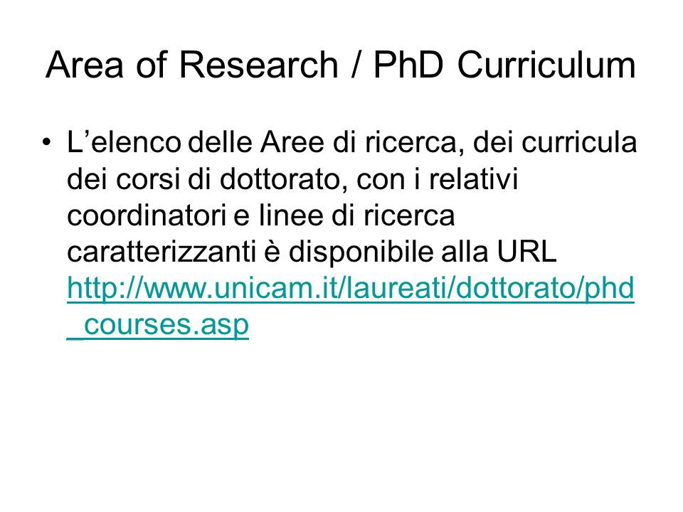Area of Research / PhD Curriculum