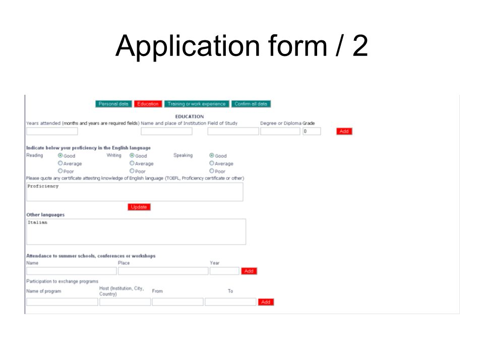 Application form / 2
