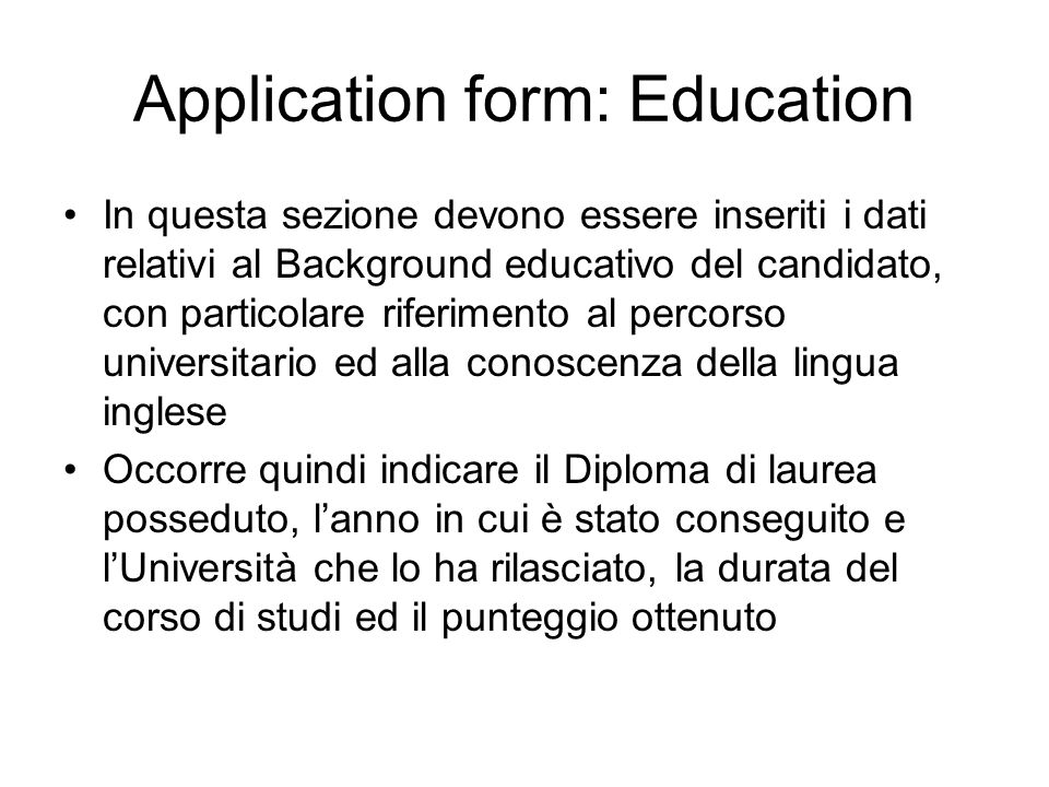 Application form: Education