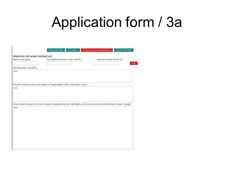 Application form / 3a