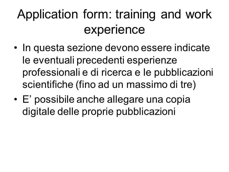 Application form: training and work experience