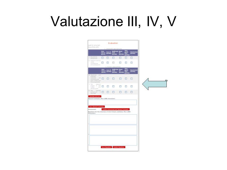 Valutazione III, IV, V
