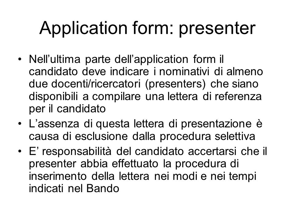 Application form: presenter
