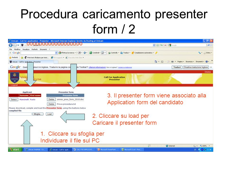 Procedura caricamento presenter form / 2