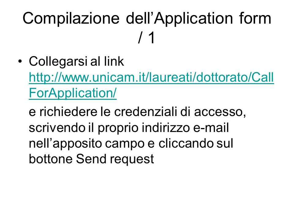 Compilazione dell'Application form / 1