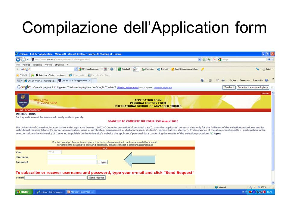 Compilazione dell'Application form