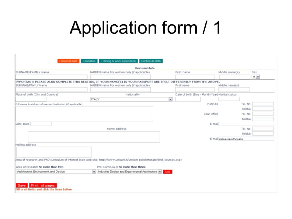 Application form / 1