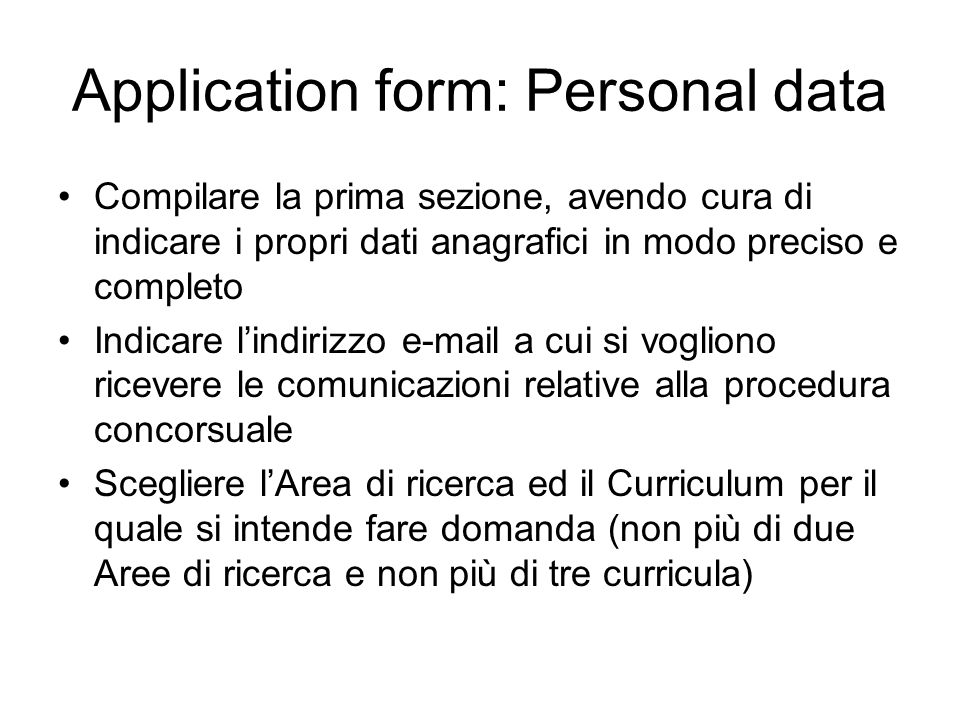 Application form: Personal data