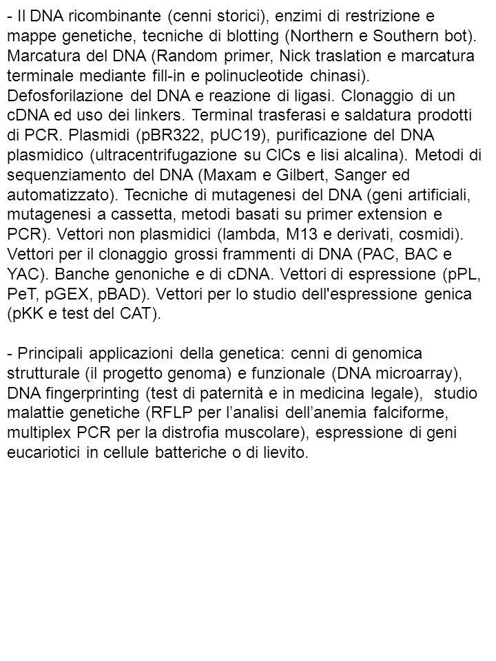 - Il DNA ricombinante (cenni storici), enzimi di restrizione e mappe genetiche, tecniche di blotting (Northern e Southern bot). Marcatura del DNA (Random primer, Nick traslation e marcatura terminale mediante fill-in e polinucleotide chinasi). Defosforilazione del DNA e reazione di ligasi. Clonaggio di un cDNA ed uso dei linkers. Terminal trasferasi e saldatura prodotti di PCR. Plasmidi (pBR322, pUC19), purificazione del DNA plasmidico (ultracentrifugazione su ClCs e lisi alcalina). Metodi di sequenziamento del DNA (Maxam e Gilbert, Sanger ed automatizzato). Tecniche di mutagenesi del DNA (geni artificiali, mutagenesi a cassetta, metodi basati su primer extension e PCR). Vettori non plasmidici (lambda, M13 e derivati, cosmidi). Vettori per il clonaggio grossi frammenti di DNA (PAC, BAC e YAC). Banche genoniche e di cDNA. Vettori di espressione (pPL, PeT, pGEX, pBAD). Vettori per lo studio dell espressione genica (pKK e test del CAT).