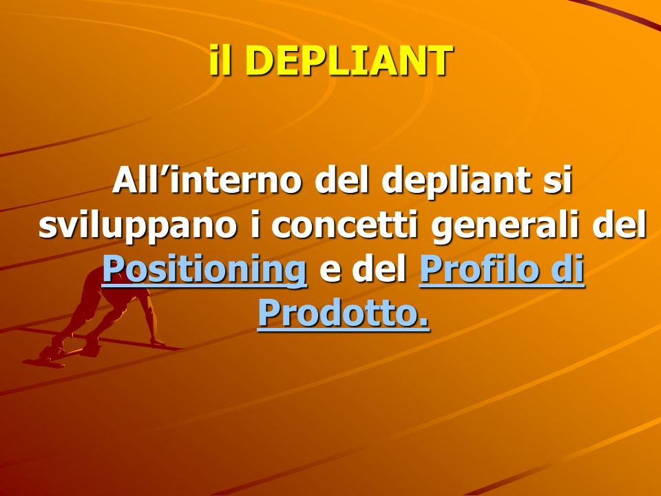 il DEPLIANT All'interno del depliant si sviluppano i concetti generali del Positioning e del Profilo di Prodotto.