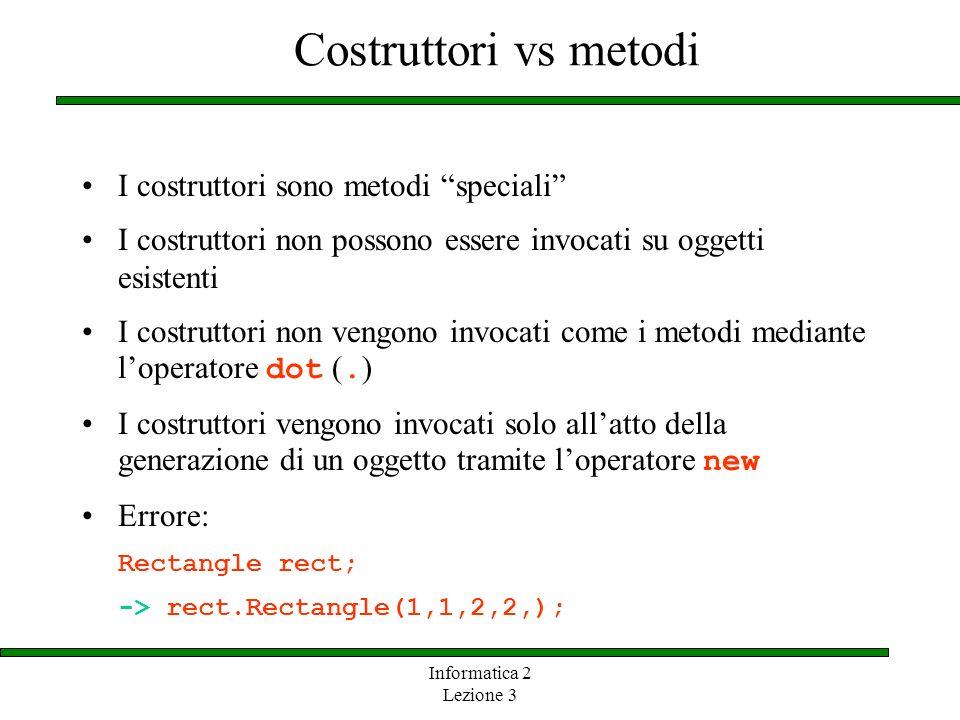 Costruttori vs metodi I costruttori sono metodi speciali