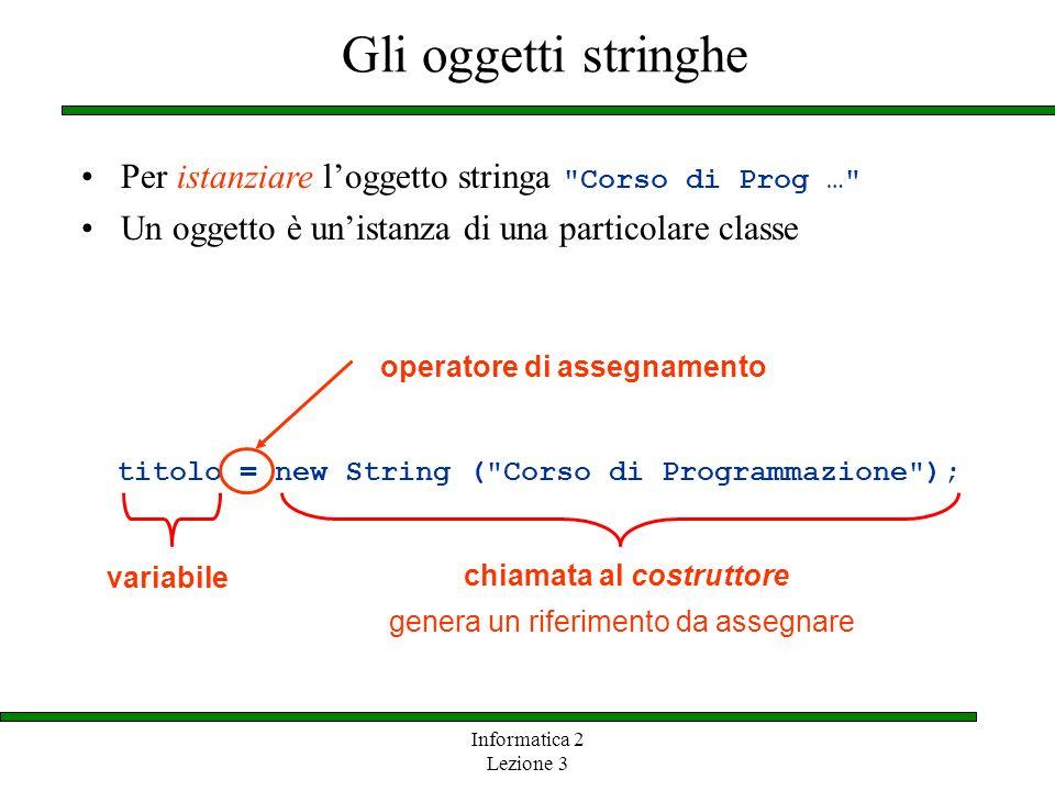 Gli oggetti stringhe Per istanziare l'oggetto stringa Corso di Prog … Un oggetto è un'istanza di una particolare classe.