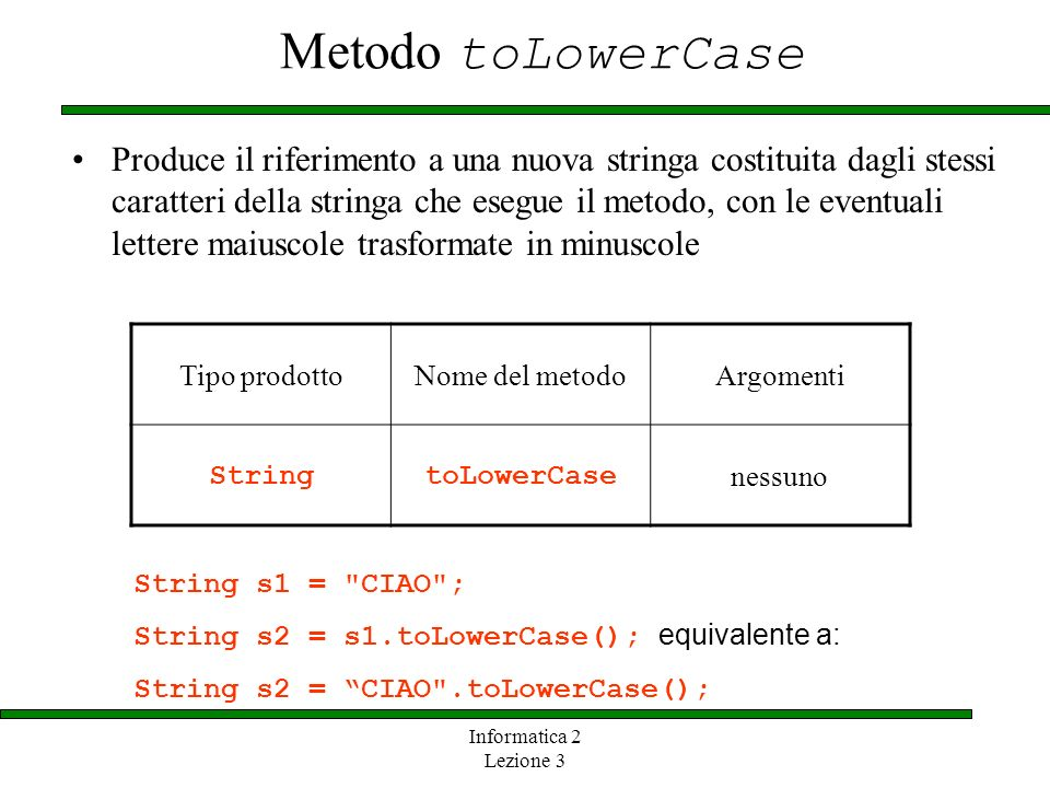 Metodo toLowerCase