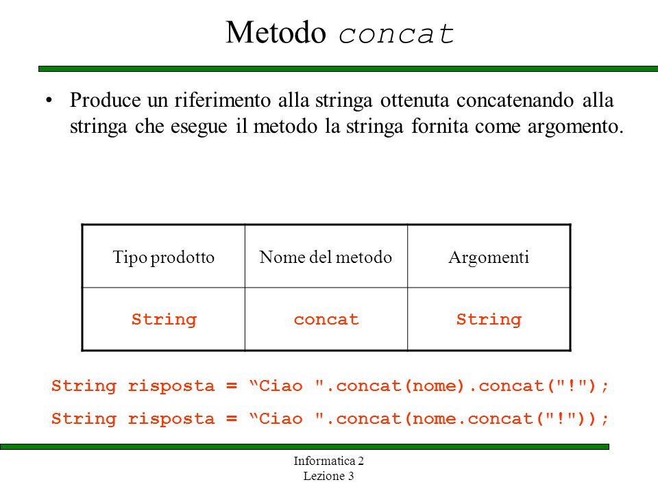 Metodo concat Produce un riferimento alla stringa ottenuta concatenando alla stringa che esegue il metodo la stringa fornita come argomento.