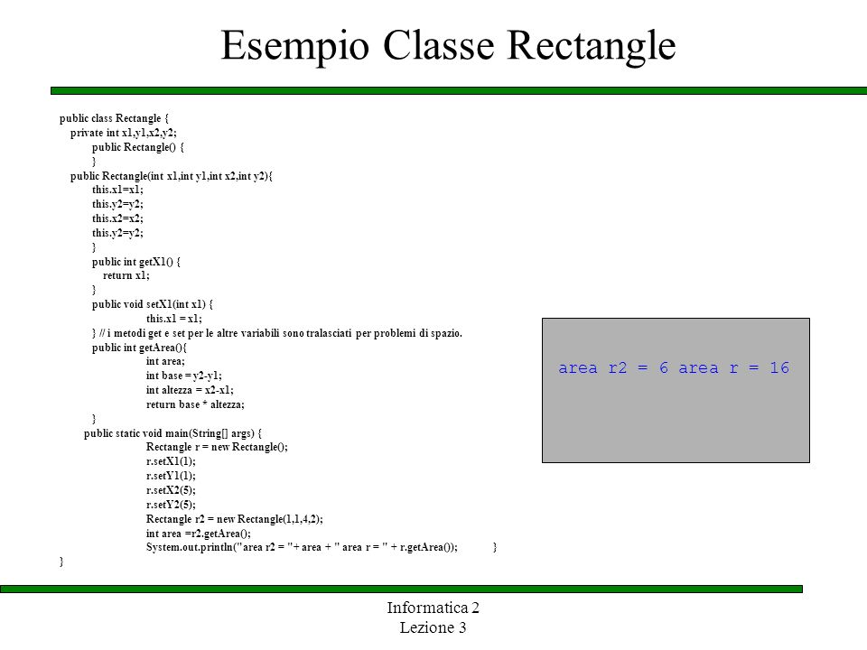 Esempio Classe Rectangle