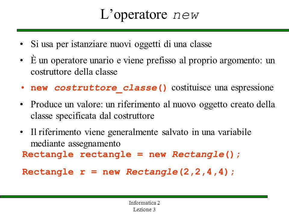 L'operatore new Si usa per istanziare nuovi oggetti di una classe