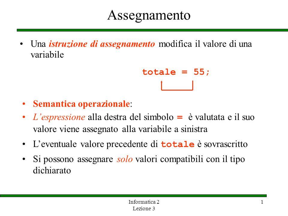 Assegnamento Una istruzione di assegnamento modifica il valore di una variabile. totale = 55; Semantica operazionale: