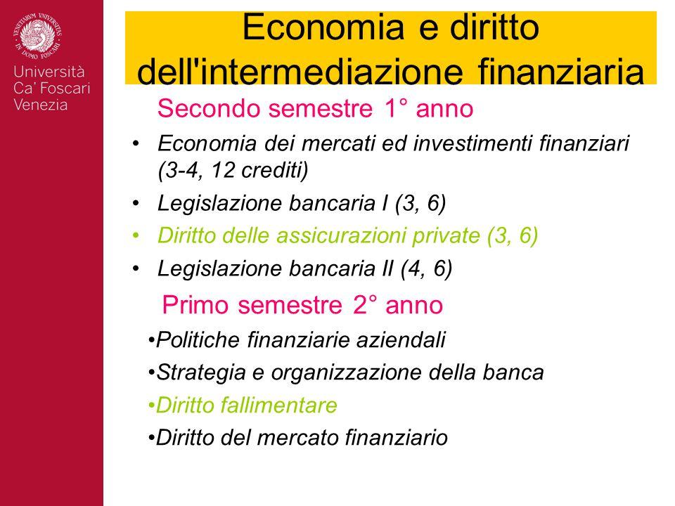 Economia e diritto dell intermediazione finanziaria