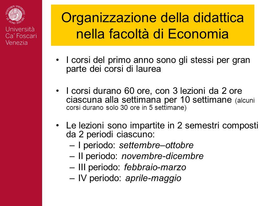 Organizzazione della didattica nella facoltà di Economia