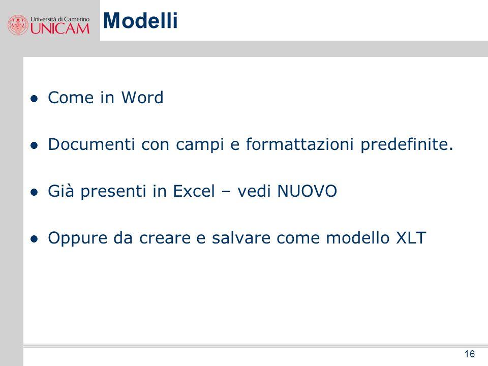 Modelli Come in Word Documenti con campi e formattazioni predefinite.