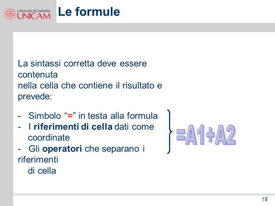 =A1+A2 Le formule La sintassi corretta deve essere contenuta
