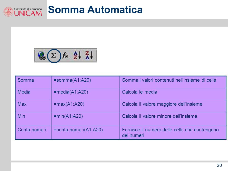 Somma Automatica Somma =somma(A1:A20)