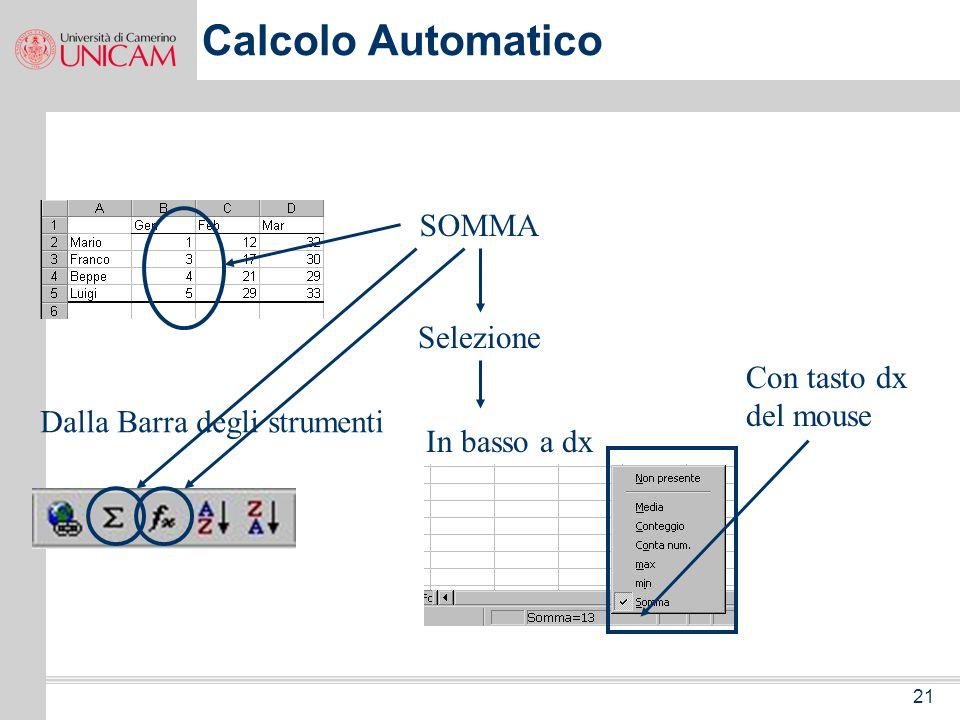 Calcolo Automatico SOMMA Selezione Con tasto dx del mouse