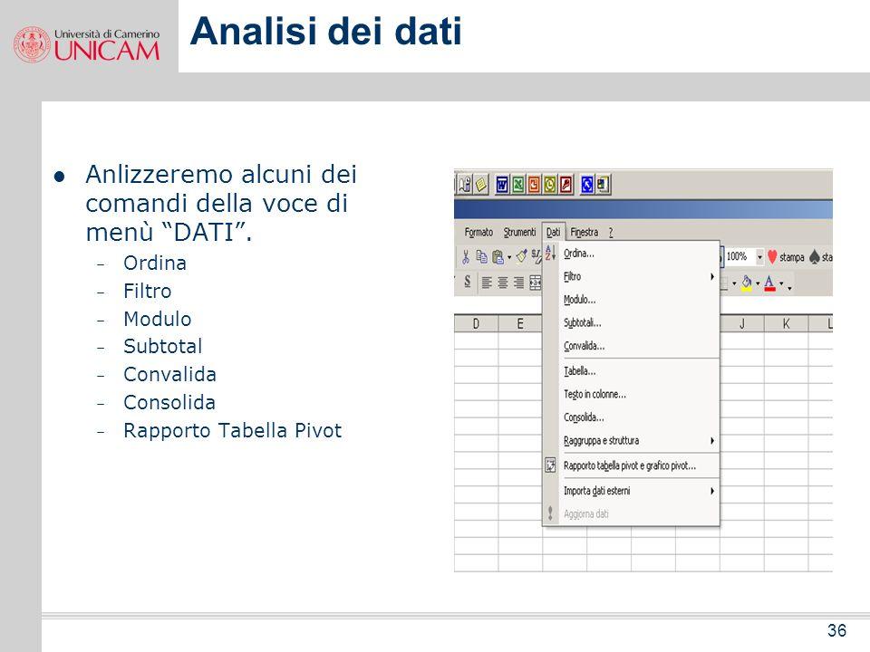 Analisi dei datiAnlizzeremo alcuni dei comandi della voce di menù DATI . Ordina. Filtro. Modulo. Subtotal.